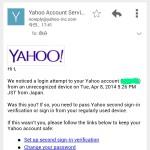Yahoo.comから不審なログイン通知が来た